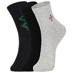 DUKK Men's Multicoloured Ankle Length Cotton Lycra Socks (Pack of 3)