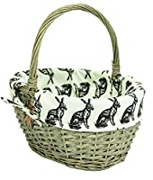 east2eden Driftwood Wash Willow Wicker Traditional Shopping Easter Basket with Hare Liner in Choice of Sizes & Set Deals (Small)