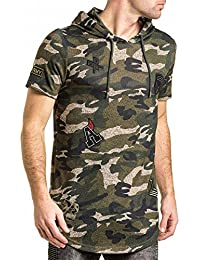 Gov denim Tee-Shirt Man With Oversized Camouflage Patches