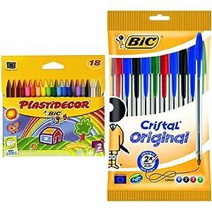 Bic – Pack 18 ceras de colores Plastidecor + 10 unidades bolígrafo de punta redonda multicolor