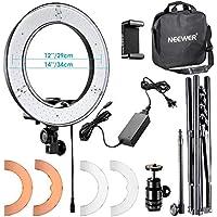 Neewer 36cm Luce LED Anulare Esterno con Light Stand + Braccetto Flessibile + 2 Filtri Colorati + Adattatore Hotshoe + Ricevitore Bluetooth per Smartphone, Youtube, Auto-riprese, 36W 5500K