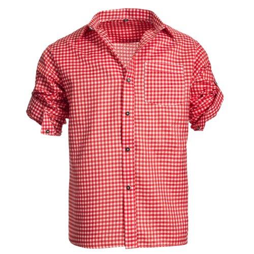 Herren Set Lederhose Dunkelbraun und Trachtenhemd Rot Weiß Kariert Gr. Hose 46 Hemd M - 3
