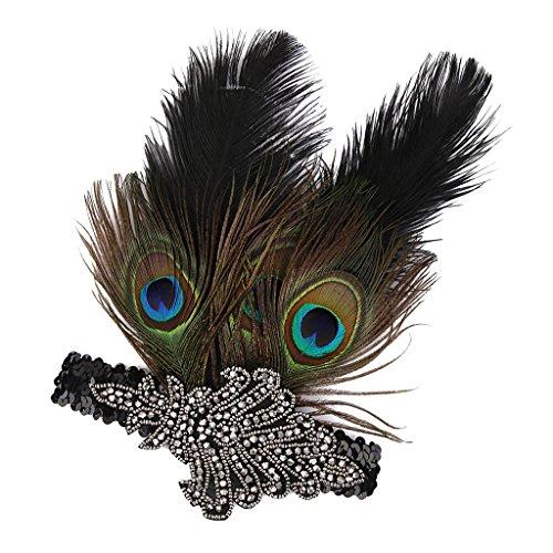 F Fityle Charleston Haarband Feder Kopfschmuck Stirnband mit Strass Feder Haarschmuck Party Kostüm Zubehör - Pfauen