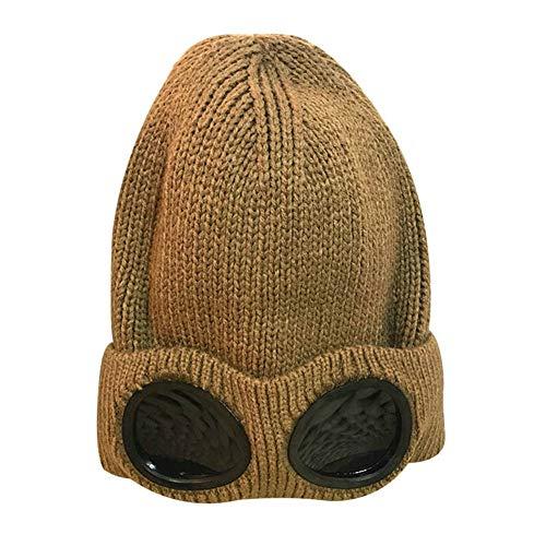 YJGYMZ Hut Damen Herren Strickmütze Hut verdicken warme Mütze Ski & Brille Winter, braun