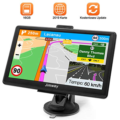 Navigationsgerät für Auto Navigation GPS Navi LKW Navigationssystem PKW 7 Zoll 16GB Lebenslang Kostenloses Kartenupdate mit POI Blitzerwarnung Sprachführung Fahrspurassistent 52 Europa UK 2019 Karte