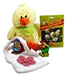 CharmingBoxes Ostergeschenk mit Plüschküken, Tasche, Schokolade & Osterei-Deko - Osterkörbchen für Kinder, Ostern, Kuscheltier, Osterschokolade, Tasche (Küken)