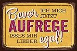 Grafik-Werkstatt 60558 Wand-Schild | Vintage-Art | Bevor Ich Mich Jetzt Aufrege. | Retro | Nostalgic |Blechschild | Deko Blechschild - Wandschild, Metall, Transparent, 30 x 20 cm