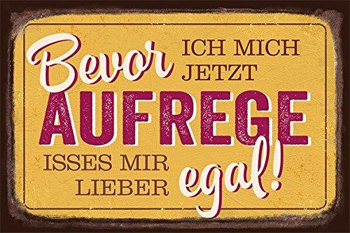 Grafik Werkstatt 60558 Vintage-Art Bevor Ich mich Jetzt Aufrege, Isses Mir Lieber EG Blechschild, Metall, transparent, 30 x 20 cm