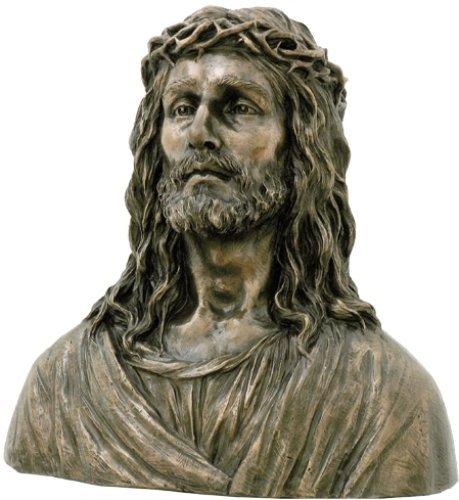 Unbekannt 42,9cm Gekrönt Jesus mit Dornen Kalt gegossen Bronze Büste Figur -