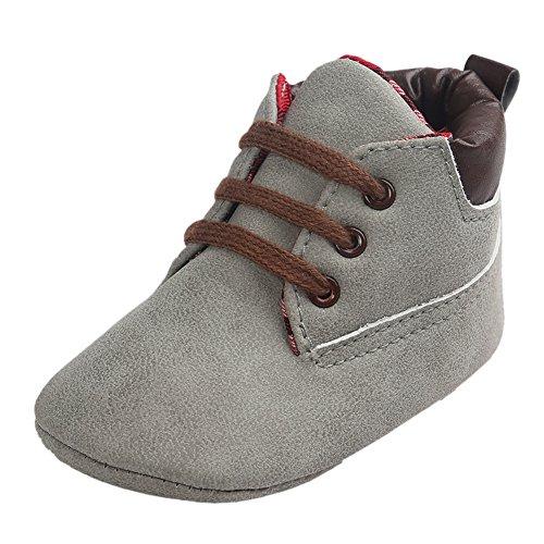 Baby Herbst Beiläufige Hohe Top T-gebunden Suede Krippe Sneakers Boots Hellgrau