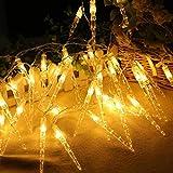 Lichterkette,FeiliandaJJ 2.2M 20pcs Dekorative Lichterkette Eiszapfen LED Licht Hochzeit Party Halloween Xmas Innen/Außen Haus Deko String Lights (Gelb)