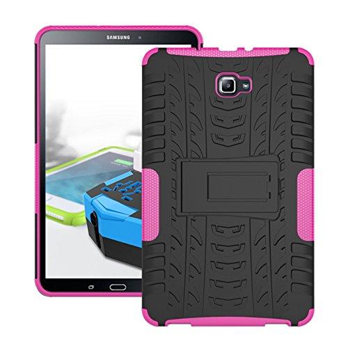 Galaxy Tab A 10.1 Hülle,AyiHuan Heavy Duty Dual Layer Armor super Schutz mit Rückseite ausklappbare Ständer Bumper für Samsung Galaxy Tab A 10,1 Zoll T580N / T585N Tablet (2016 Version),Rose Red