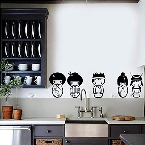 Japan 5 puppe Kunst Wandaufkleber kinderzimmer Applique wohnzimmer schlafzimmer Dekoration Vinyl DIY Tapete 58 cm x 19 cm - Puppe Applique