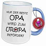 Klebemonster24 Spruchtasse Funtasse Mittelblau Ring Nur der Beste Opa Wird zum Uropa befördert … Bedruckte Tasse Becher für Kaffee Tee