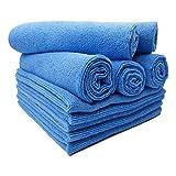 FloKa69® Lot de 10 chiffons de nettoyage en microfibre absorbants 300gsm 40x40cm bleu Idéal pour la maison, bureau, cuisine, la salle de bains, la voiture, les torchons de nettoyage pour les fenêtres