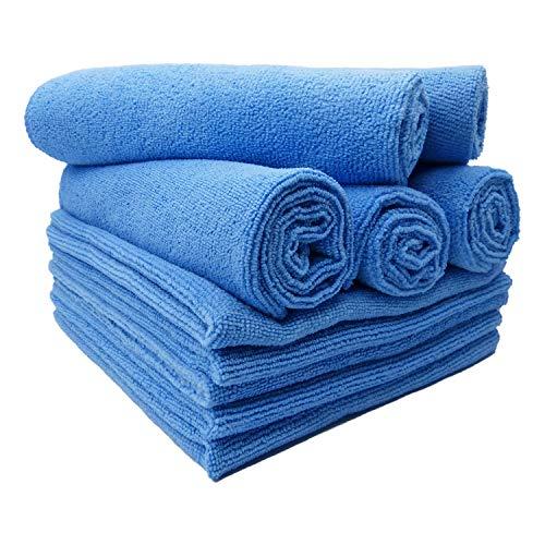 Floka69® set da 10 panni per pulizia in microfibra ad alto assorbimento 300gsm 40x40cm blu. ideale per la casa, del bagno, della cucina e´ dell'ufficio i panni per strofinacci per schermo a specchio