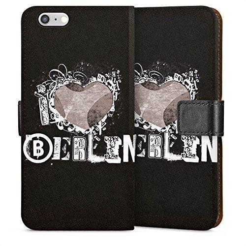 Apple iPhone 5s Housse Étui Protection Coque J'aime Berlin C½ur Amour Sideflip Sac