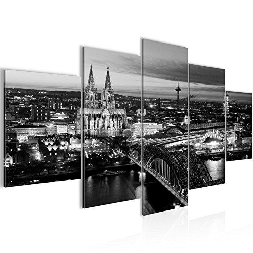 Bilder Stadt Köln Wandbild 200 x 100 cm Vlies - Leinwand Bild XXL Format Wandbilder Wohnzimmer Wohnung Deko Kunstdrucke Weiß 5 Teilig -100% MADE IN GERMANY - Fertig zum Aufhängen 601551b (Bild Der Stadt)