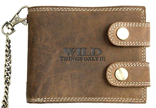 Billetera marrón estilo motero de cuero con cadena de metal