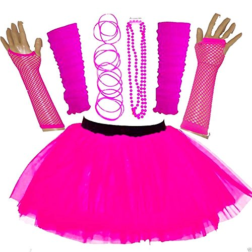 Neon Pink Tutu Skirt with Accessories. Up to size 20.