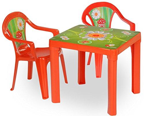 Whity Whiteman - Kinder Gartengarnitur Tisch Stühle Kombi- Set, Rot