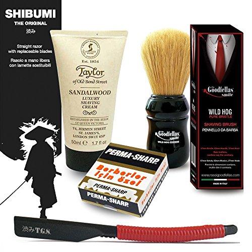 The Goodfellas' Smile Traditional Shaving Kit. Straight Razor Shibumi | Wild Hog Shaving Brush | Taylor Shaving Cream Sandalwood and 100 Permasharp Single Edge Razor Blades