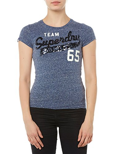 Superdry Sequin Team Comets, T-Shirt Femme ECLIPSE NAVY HEATHERED