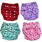 Chinmay Kids One Size Adjustable Baby Cloth Button Diaper - Washable/Reusable Nappies For Infants & Toddlers Pack Of 4 - Red/Blue/Purple/Pink WOP