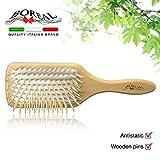 Natürliche pneumatisch holz Haarbürste. Natural hair Brush giant model, cushion rubber, antistatic.