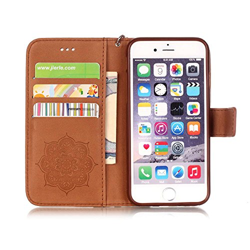 Nutbro iPhone 6S Plus Case, iPhone 6 Plus Case Wallet, Premium PU Leather Flip Folio Carrying Magnetic Protective Shell Wallet Case Cover for iPhone 6 / 6S (5.5) with Kickstand Brown