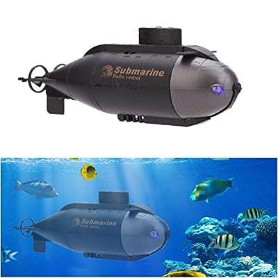 ALLCACA Mini RC Racing U-Boot Radio Gesteuertes Fernbedienung Spielzeug mit 40 MHz Sender und LED-Leuchten, schwarz von ALLCACA