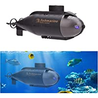 ALLCACA Mini RC Racing Submarine Radio Controlled Submarine Boat Remote Control Submarine Toy with 40MHz Transmitter and LED Lights, Black - Compare prices on radiocontrollers.eu