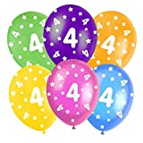 Multi-Coloured Happy Birthday Assorted 12 Latex Balloons - 5 In Each Pack - Balloons feature Stars - All ages - Colours: Orange, Yellow, Green, Blue and Burgundy. (4th Birthday Balloons) by Good Deals Online