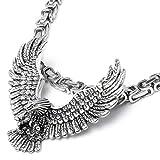 Edelstahl Anhänger Adler massiv silber Eagle Halskette Königskette Bikerschmuck Vogel mit gespreizten Schwingen Männer Geschenk Hochwertig