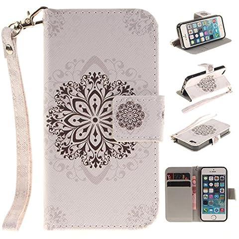 Chreey Apple Iphone 5 / 5S 5SE (4 Zoll),Hülle Cover Case Leder Muster Flip Etui ,Kreditkartenslot,Karte Halter-Magnetverschluß-Klappbar Stand,Perfekt zum Schutz Ihres