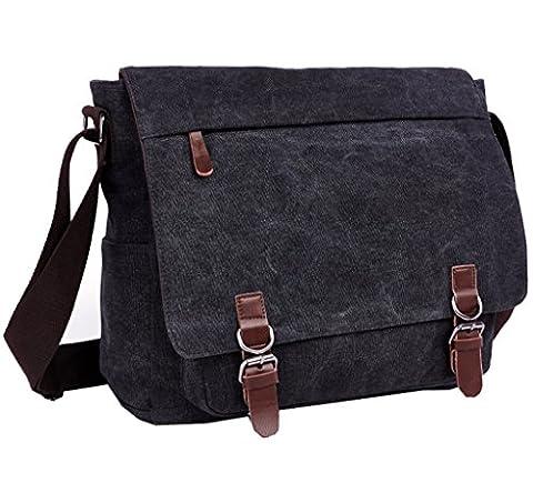 Super Modern Vintage-Canvas-Schultertasche, leger, College-Bag, Laptop-Tasche (für 14 Zoll / 35,6cm), Schultasche aus Segeltuch/Canvas, Aktentasche, Umhängetasche Größe L schwarz