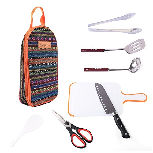 Camping Cooking Utensils Set ,Vicoki 7Pcs Picnic Cookware Kit Outdoor Cooking Tool Stainless Steel Kitchenware with Portable Storage Carry Case Perfect Cookware Both for Home Outdoor Cooking