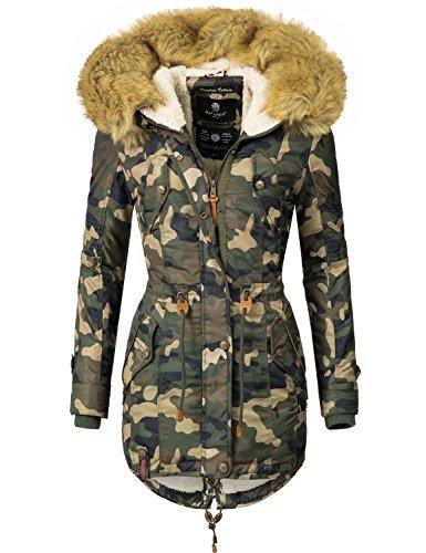 Navahoo Damen Mantel Wintermantel Winterparka La Viva (vegan hergestellt) Camouflage Gr. XS