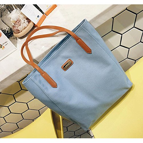 Damen Kunst Leinwand Tasche Schultertasche Einfach Big Bag Große Kapazität Tragbar Einkaufstasche Blue