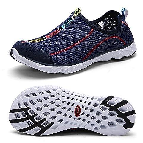 QANSI Flat Heel Women's Mesh Slip On Water Shoe navy 42