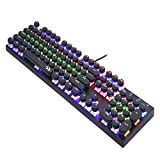 LED-Farbe Hintergrundbeleuchtung Machine Spiel Tastatur Kein Punch-Spiel USB-Runde Retro-Taste Cap Mechanische Tastatur-Schwarze Mechanische Tastatur-104 Tasten