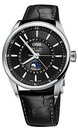 Oris Artix Complication Moonphase Automatic Steel Mens Strap Watch Calendar 915-7643-4034-LS