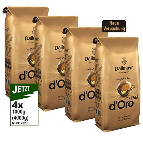 Dallmayr Crema d'Oro SAMTIG, MILD & FEIN Kaffee Ganze Bohne 4er Pack (4x1000g) - Arabica