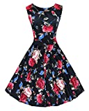 1950's Women's Vintage Elegant Black Swing Dress, Covered Vibrant Rose Floral Pattern, Modest Bateau Neckline, Concealed Zipper at Back, Full Circle Swing Skirt, High Waist Design Shows off your Slim Figure Perfectly.About Material 95% Cotton 5% Span...