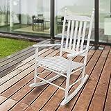 1PLUS SCHAUKELSTUHL Relaxsessel aus Massivholz/Holz - in weiß o. braun - Wippstuhl Rocking Chair Schwingstuhl im Landhausstil (Sandro, weiß)