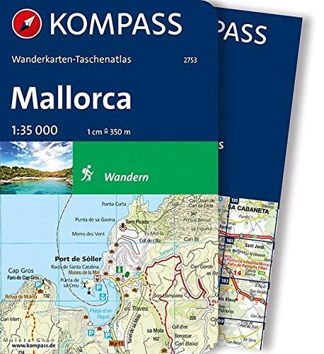Mallorca: Wanderkarten-Taschenatlas: Wandelatlas 1:35 000 (KOMPASS-Wanderkarten-Taschenatlas, Band 2753)
