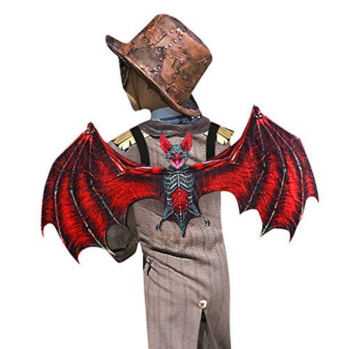 Drachen Flügel Schwanz Brille Gläser für Unisex Kinder Piebo Dragons Kostüm 2-teiliges Halloween Weihnachten Karneval Party Cosplay Dämon Drachenflügel (Flügel + Brille, Rot)