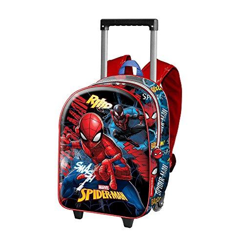 Spiderman Smash-3D Rucksack mit Rädern (Klein) Zainetto per bambini, Blu