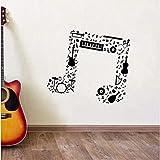 KUANGJING Adesivi murali Soggiorno grandeMusic Sticker Wall Sticker Chitarra Sassofono Flauto Drum Band Adesivo Nuovo Design Note Musicali Vinile Wall Art Murale Ay1246 65X57Cm