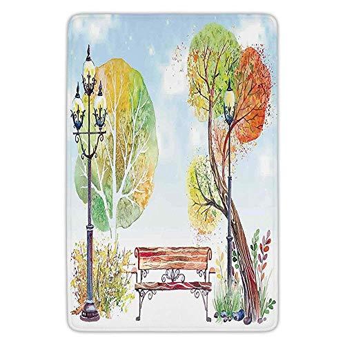 Bathroom Bath Rug Kitchen Floor Mat Carpet,Lantern,Colorful Fall Trees Wooden Bench Lantern in Park on Blue Sky Street Lamps Decorative,Orange Yellow Green,Flannel Microfiber Non-slip Soft Absorbent